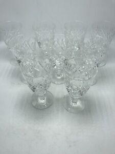 """Royal Doulton Crystal Stemmed White Wine Juice Glasses 5 1/4"""" Set of 9 Vintage"""