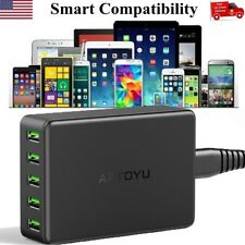 5-Port Multi【Smart Charging】Station USB Charger Desktop Travel Hub 10A 50W