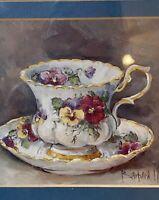 Vintage Barbara Mock Tea Cup and Saucer Matted Wall Art Decor Framed Print