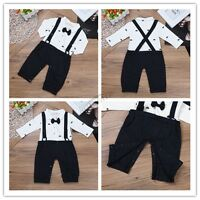 Gentleman Kids Baby Boys Long Sleeve Shirt Tops+Braces+Pants Clothes Outfit Set