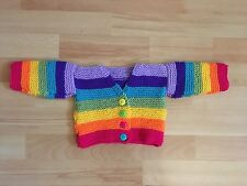 New Hand Knitted Girls Rainbow Cardigan Size 6-9 months