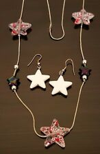 Patriotic Red White Blue Stars Necklace and Star Pierced French Hook Earrings