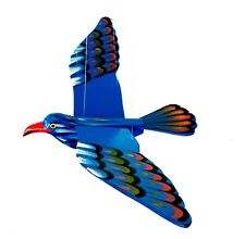 Wooden bird Flapping Flying Mobile, Handmade And Painted Blue Bird Hanging Décor