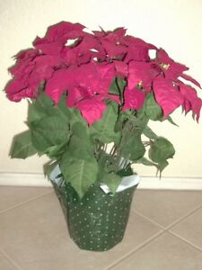 """2 Large 22"""" Artificial Potted Red Poinsettia Plant Christmas Holiday 14 Flowers"""