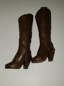 Barbie Doll Shoes DARK BROWN COWGIRL Boots ,FITS DOLLS WITH ARCHED FEET