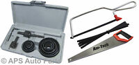 """New 18"""" Hand Saw 6"""" Junior Hacksaw With 6 Blades And 11pc Hole Saw Kit Cutting"""
