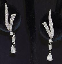 Platinum elegant 1.82CT VS1/F diamond drop earrings w/ .40CT Pear centers