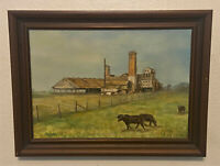 Vintage Signed Oil on Canvas Painting -Don Reggio - Cows,Sugar Mill, Farm, Rural