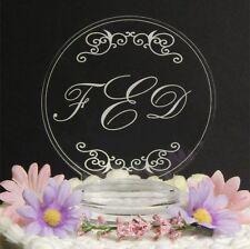 Personalized Custom Monogram Wedding Cake Top Topper Acrylic