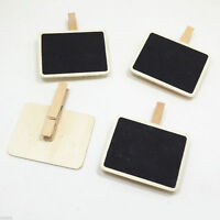 3Pcs Hot Wedding Mini Blackboard Chalkboard Pegs Wooden Clips Office Organize