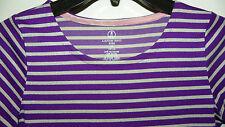 LANDS' END KIDS Purple & Silver Stripes HOLIDAY SPARKLE L/S DRESS 10/12 M