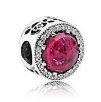 S925 sterling silver Belle's Radiant Rose Clear CZ Charm Fit European Bracelet