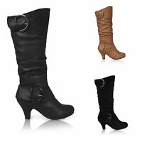 WOMENS MID HEEL WINTER TWIN BUCKLE ZIP CALF KNEE RIDING LADIES SHOES BOOTS SIZE