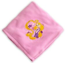 Disney Store Embroidered Tangled Rapunzel Super Soft Pink Fleece Throw Blanket