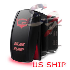 LED Waterproof Red ROCKER SWITCH LASER ETCHED 12v 20a LED Bilge Pump LIGHT CAR