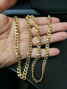 "Men's Solid 14k Yellow Gold 6.5mm Miami Cuban Link Chain 24"" 35+ G's Semi Hollow"