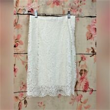 HM Straight Pencil Skirt Size 4 Ivory Lace Crochet Career