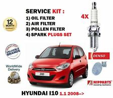 FOR HYUNDAI i10 1.1 2008-> SERVICE KIT OIL AIR POLLEN (CABIN) FILTER SET+ 4 PLUG