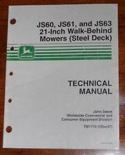 "John Deere JS60 JS61 JS63 21"" Walk Behind Mower Technical Manual TM1710"