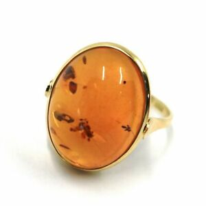 Yellow Gold Ring 750 18K, With Amber Central Natural, Oval, Cut Cabochon