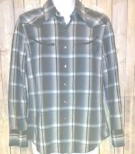 Calvin Klein Men's Western Gray Plaid Long Sleeve Snap Button Casual Shirt SM