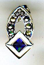 "925 Sterling Silver Faux Sapphire & Marcasite  Stud Earrings Length 5/8"""