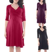 Women 3/4 Sleeve V-Neck Maternity Pregnant Nursing Summer Casual Dress Sundress