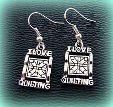 QUILTING theme Earrings Jewelry - Vintage Sewing QUILTING Featherweight style