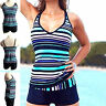Women Two Piece Sporty Tankini Set Swimwear Top Shorts Plus Size Swimwear Bikini