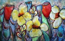 Flowers Painting Original Oil Canvas Floral Whimsical Artwork by Luiza Vizoli