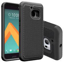 Black Hybrid Rugged Rubber ShockProof Hard Matte Case Cover For HTC One M10