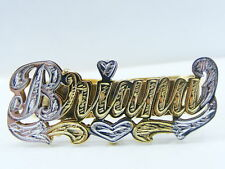 PERSONALIZED 14K GP TWO 2 FINGER NAME RING W/HEART