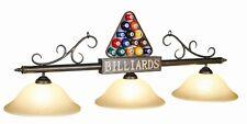 Pool Billiard Table Light Pool Balls Bronze w Amber Glass Shades BIL-B56 BIL B56