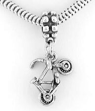 STERLING SILVER BICYCLER'S BICYCLE EUROPEAN STYLE DANGLE BEAD