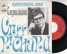 CLIFF RICHARD disco 45 RPM  made in FRANCE Eurovision 1968 CONGRATULATIONS