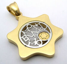 Star David Pendant Charm 2-Tone Stainless Steel 316L Multi-Colored Gold Polished