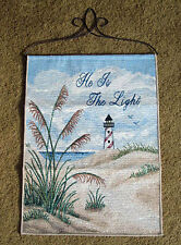 He Is The Light ~ Seaside Lighthouse Tapestry Bannerette Wall Hanging