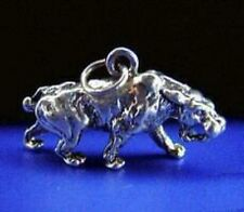 LOOK New Sterling Silver 925 Sabertooth Tiger Solid 3D Dinosaur Charm Jewelry pe