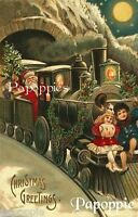 Vintage Christmas Fabric Block Santa Polar Express Postcard printed onto Fabric