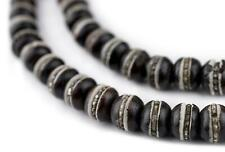 Silver-Inlaid Black Bone Mala Beads 8mm Nepal Round Large Hole 28 Inch Strand