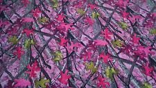 """Ladies Sassy B Pink Camo Cotton Poly Water Repellent Twill Fabric 60"""" Camouflage"""