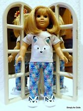 """3pc BLUE Little Fox DOLL PAJAMAS SET fits 18"""" AMERICAN GIRL Doll Clothes"""