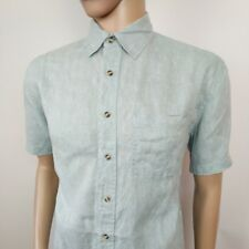 Aigle Mens Shirt Pure Linen Floral Pale Blue Size M , 16 New RRP£115