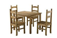 Corona Small Mexican Pine Dining Table & 4 Chairs Solid Wood Budget Set