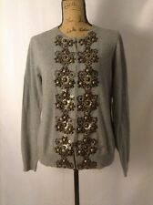 NWT Boden Grey Cotton Cashmere Cardigan Sweater Heavy Beading Sequin UK 16 US 12