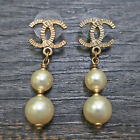 CHANEL Gold Plated CC Logos Imitation Pearl Swing Pierced Earrings #7126 Rise-on