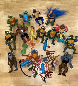 Vintage 1990's TMNT Figures Teenage Mutant Ninja Turtles Weapons Accessories Lot