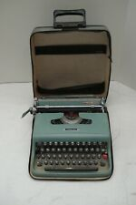 Vintage Blue 1960's Olivetti Lettera 22 Typewriter With Soft Case
