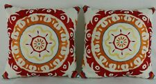 """Lot of 2 Embroidered Pillows Loloi Rugs Ivory Red Teal Geometric 18""""x18"""" Square"""