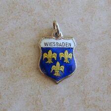 Wiesbaden Germany Travel Shield Vintage Silver Bracelet Charm Enamel German